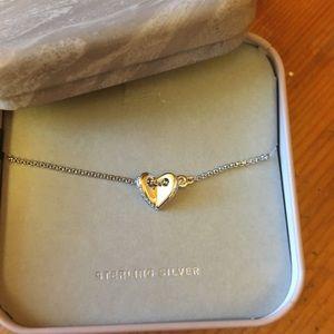 Fossil Sterling silver floating heart bracelet